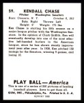 1939 Play Ball Reprint #59  Ken Chase  Back Thumbnail