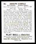 1939 Play Ball Reprints #86  Dolph Camilli  Back Thumbnail