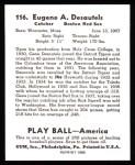 1939 Play Ball Reprint #116  Gene Desautels  Back Thumbnail