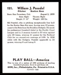 1939 Play Ball Reprint #121  Bill Posedel  Back Thumbnail