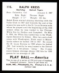 1939 Play Ball Reprints #115  Ralph Kress  Back Thumbnail
