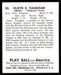 1939 Play Ball Reprint #55  Arky Vaughan  Back Thumbnail