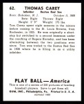 1939 Play Ball Reprints #62  Tom Carey  Back Thumbnail