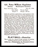 1939 Play Ball Reprint #137  Pete Appleton  Back Thumbnail