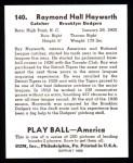 1939 Play Ball Reprint #140  Ray Hayworth  Back Thumbnail