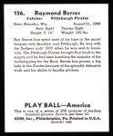 1939 Play Ball Reprint #156  Ray Berres  Back Thumbnail