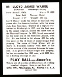 1939 Play Ball Reprint #89  Lloyd Waner  Back Thumbnail