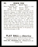 1939 Play Ball Reprint #80  Pete Fox  Back Thumbnail
