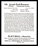 1939 Play Ball Reprint #128  Joe Bowman  Back Thumbnail