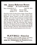 1939 Play Ball Reprint #132  Jim Brown  Back Thumbnail
