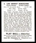 1939 Play Ball Reprints #6  Leo Durocher  Back Thumbnail