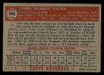 1952 Topps #194  Joe Hatten  Back Thumbnail