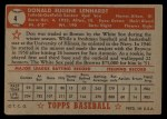 1952 Topps #4 RED Don Lenhardt  Back Thumbnail