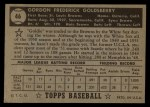 1952 Topps #46 BLK Gordon Goldsberry  Back Thumbnail