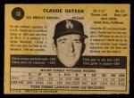 1971 O-Pee-Chee #10  Claude Osteen  Back Thumbnail