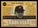 1971 O-Pee-Chee #316  Fred Scherman  Back Thumbnail