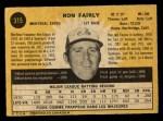 1971 O-Pee-Chee #315  Ron Fairly  Back Thumbnail