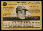 1971 O-Pee-Chee #285  Sal Bando  Back Thumbnail
