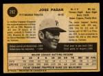 1971 O-Pee-Chee #282  Jose Pagan  Back Thumbnail