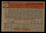 1952 Topps #49 RED   Johnny Sain  Back Thumbnail