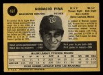 1971 O-Pee-Chee #497  Horacio Pina  Back Thumbnail
