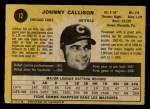 1971 O-Pee-Chee #12  Johnny Callison  Back Thumbnail