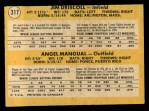 1971 O-Pee-Chee #317   -  Jim Driscoll / Angel Mangual Athletics Rookies Back Thumbnail