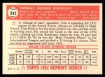 1952 Topps REPRINT #242  Tom Poholsky  Back Thumbnail