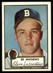 1952 Topps REPRINT #407  Eddie Mathews  Front Thumbnail