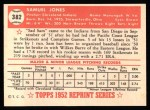 1952 Topps REPRINT #382  Sam Jones  Back Thumbnail