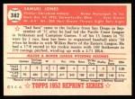 1952 Topps Reprints #382  Sam Jones  Back Thumbnail