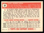 1952 Topps REPRINT #89  Johnny Lipon  Back Thumbnail