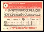 1952 Topps REPRINT #8  Fred Marsh  Back Thumbnail