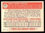 1952 Topps REPRINT #355  Bobby Morgan  Back Thumbnail