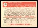 1952 Topps REPRINT #215  Hank Bauer  Back Thumbnail