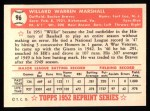 1952 Topps REPRINT #96  Willard Marshall  Back Thumbnail