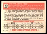 1952 Topps REPRINT #363  Dick Rozek  Back Thumbnail