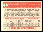 1952 Topps REPRINT #23  Billy Goodman  Back Thumbnail