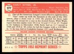 1952 Topps REPRINT #277  Early Wynn  Back Thumbnail