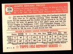 1952 Topps REPRINT #220  Joe Presko  Back Thumbnail