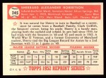 1952 Topps REPRINT #245  Sherry Robertson  Back Thumbnail