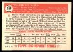 1952 Topps REPRINT #269  Willard Nixon  Back Thumbnail