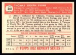 1952 Topps Reprints #241  Tommy Byrne  Back Thumbnail