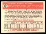 1952 Topps REPRINT #317  Conrado Marrero  Back Thumbnail