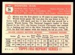 1952 Topps REPRINT #26  Monte Irvin  Back Thumbnail