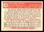1952 Topps REPRINT #240  Jack Phillips  Back Thumbnail