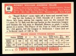 1952 Topps REPRINT #88  Bob Feller  Back Thumbnail