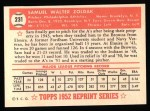 1952 Topps REPRINT #231  Sam Zoldak  Back Thumbnail