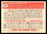 1952 Topps REPRINT #222  Hoot Evers  Back Thumbnail