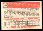 1952 Topps REPRINT #278  Allie Clark  Back Thumbnail